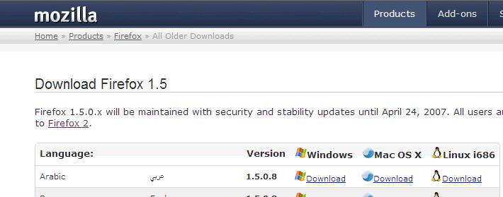 Firefox 1.5.0.8